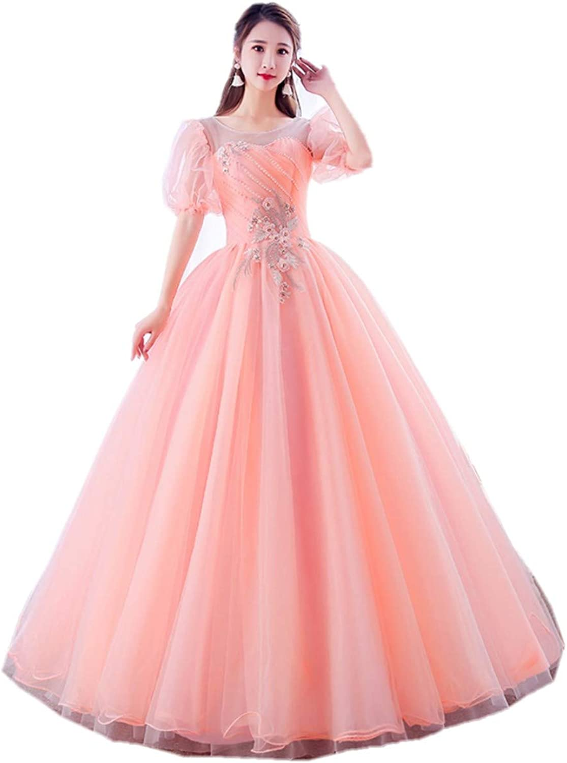 Darcy74Dulles Women's Ball Gown Puff Sleeve Beading Green Quinceanera Dress Lace Prom Gowns Sweet 16