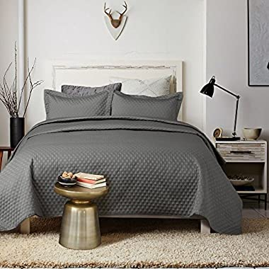 Bedsure 3-Piece Bedding Quilt Set Grey Charcoal Full/Queen Size 90x96 Bedspread with 2 Pillow Shams Pattern Soft Microfiber Coverlet Set H