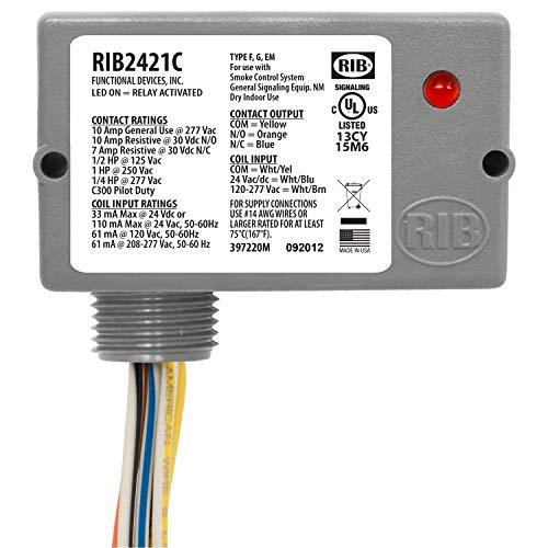 Functional Devices RIB2421C Pilot Relay, 10 Amp SPDT, 24 Vac/dc/120-277 Vac Coil, NEMA 1 Housing