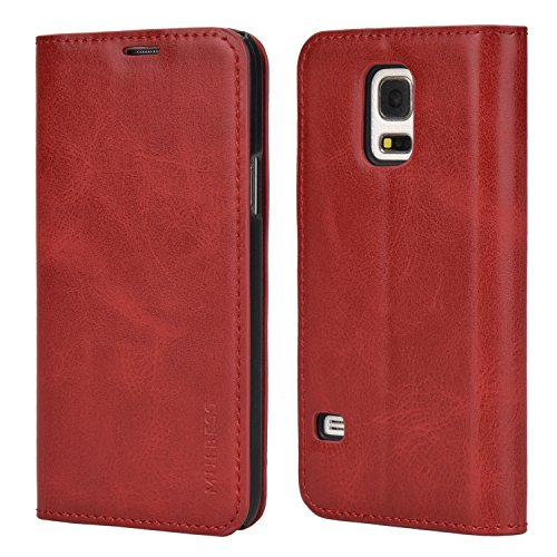 Mulbess Handyhülle für Samsung Galaxy S5 Mini Hülle Leder, Samsung Galaxy S5 Mini Handytasche, Slim Flip Schutzhülle für Samsung Galaxy S5 Mini Case, Wein Rot