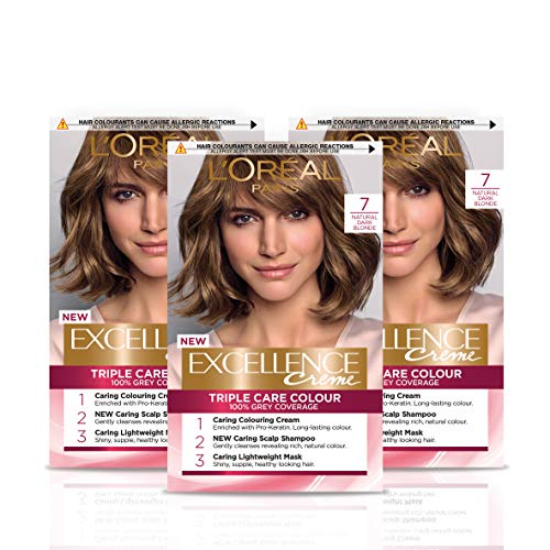 L Oréal Paris Excellence Crème Permanent Hair Dye, Radiant At-Home Hair Colour with up to 100% Grey Coverage, Pro-Keratin, Up to 8 Weeks of Colour, Pack of 3, Colour: 7 Natural Dark Blonde