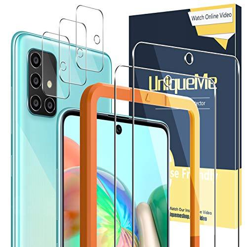 [2 Pack] UniqueMe Protector de Pantalla Compatible con Samsung Galaxy A71 / A71 5G + [3 Pack] Protector de Lente de cámara, Vidrio Templado [9H Dureza] HD Film Cristal Templado