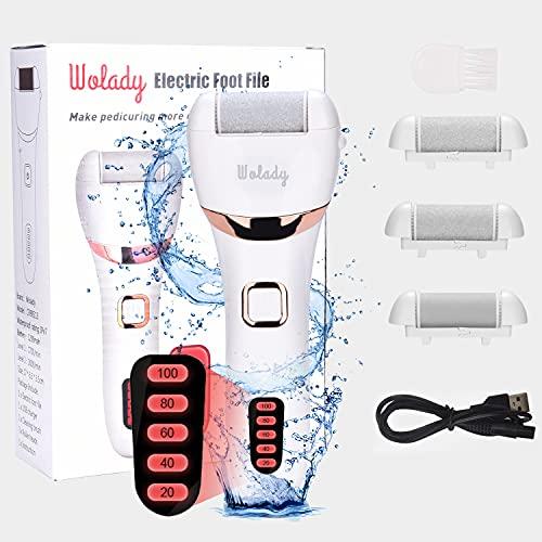 Elektrischer Hornhautentferner Hornhaut Entfernung Wolady Elektrische Fußfeile Fußpflege wasserdicht USB wiederaufladbar mit 3 Ersatzrollen