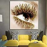 ZDFDC Beauty Makeup Sexy Goldene Wimpern Leinwanddruck