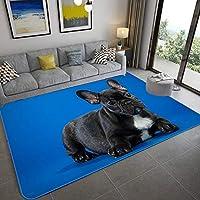 LHGBGBLN 黒子犬のリビングルームの寝室の3Dカーペット廊下フロアマット抽象的なフロアマット滑り止めマット