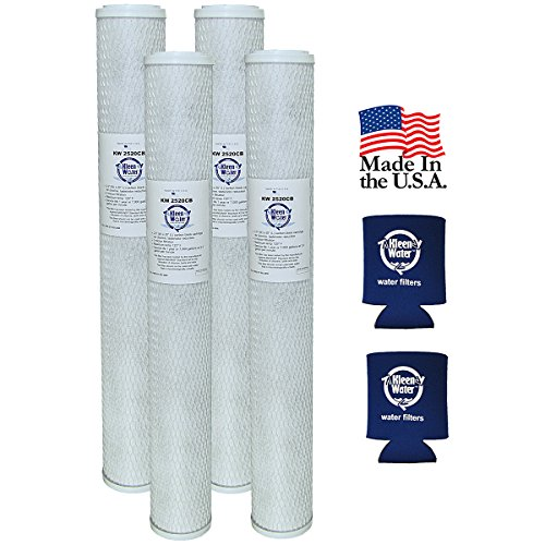 KleenWater Carbon Block Water Filters, 2.5 x 20 Inch Replacement Cartridges (4) with Genuine Can Holders (2)