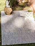 Unique Loom Outdoor Solid Collection Casual Transitional Indoor and Outdoor Flatweave Light Gray Area Rug (5' 0 x 8' 0)
