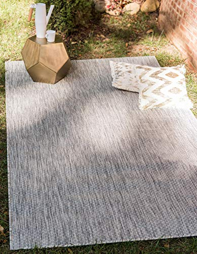 Unique Loom Solid Collection Casual Transitional Indoor and Outdoor Flatweave Area Rug, 5  x 8 , Light Gray Gray