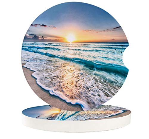 """Small Car Coasters for Cup Holders 2.65"""" Absorbent 2 Pack Car Coaster Ceramic Stone for Drinks Absorb Water Drops Ocean Theme Sand Beach Wave Sea Water Pattern"""