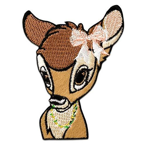 Bambi cabeza Disney animal niños – marrón - Parches termoadhesivos bordados aplique para ropa, tamaño: 8 x 8 cm