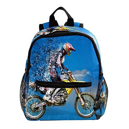 Moto de Nieve 01 Mochila para niños Mochila Escolar Ligera Impresión Completa para niños en Edad Preescolar 3-8 años Bolsa de bebé Pañal Leche en Polvo Mochila 25.4x10x30 CM