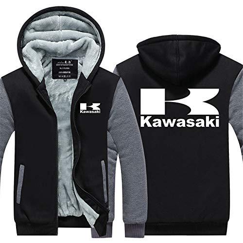 LAIDAN Herren Kapuzenpullover Zipjacke Kawasaki 3D-Druck Beiläufige Warm-Langärmliges Atmungsaktiv Sweatshirt Baseball-Uniform Teen-Mantel-Geschenk,A,L