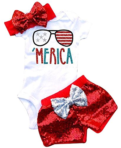 3Pcs Baby Girls Merica Flag Stars Print Romper Bodysuit+Sequins Shorts+Headbands Sets Size 18-24 Months/Tag90 (White)