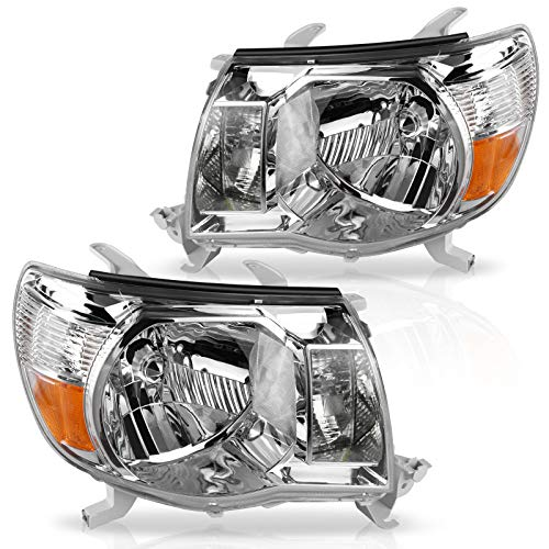 DWVO Headlight Assembly Compatible with 2005-2011 Tacoma Pickup Truck OE Style Replacement Chrome Housing with Amber Reflector