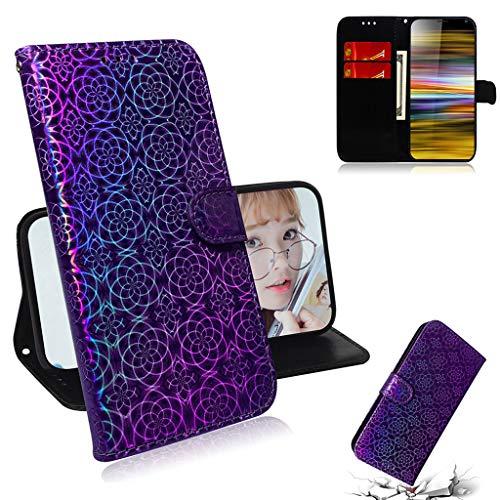 Careynoce Hülle für Sony Xperia 10 Plus,Luxus Premium Geprägte Pure Farbe Leather Brieftasche Flip Cover - Magnetisch Ständer Kartenfach Schutzhülle für Sony Xperia 10 Plus - Violett
