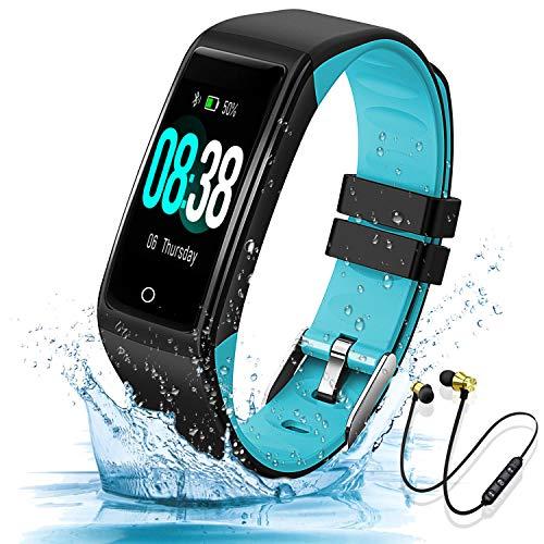 Smartwatch Reloj Inteligente y Auricular Bluetooth Deportivos, 0.96'' Mujer Hombre Niños Pulsera, Smart Watch Fitness Tracker, Temporizador, Monitor de Ritmo Cardíaco, Podómetro(Azul)