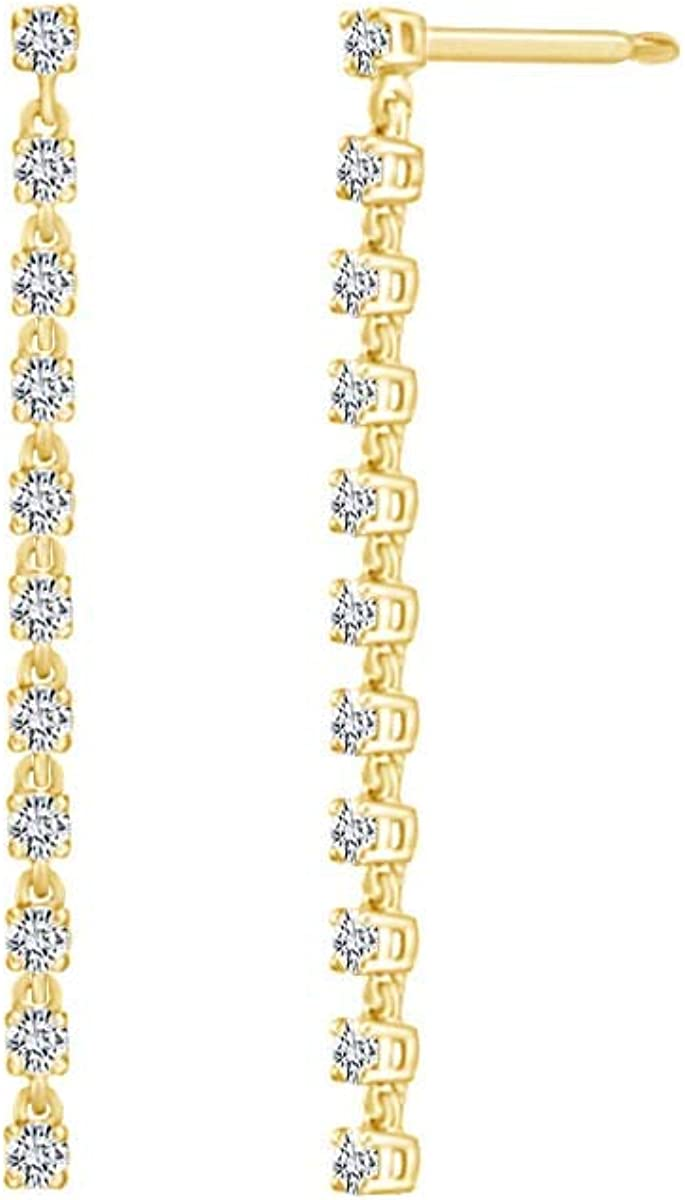 5 Special price 8 CT List price Round White Natural Drop Earrings Soli Dangle 10k Diamond