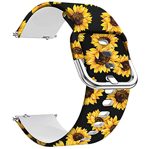 Veczom 20mm Gizmo Watch Silicone Watch Band Compatible with Samsung Galaxy Watch 3 41mm, Galaxy Watch Active 2 Galaxy Watch 42mm Wristband Quick Release Pins Strap for Women (Sunflower, 20mm)