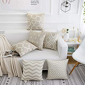 famibay Geometric Pillow Cover 18x18 Set of 6 Cotton Linen Square Modern Decorative Throw Pillow Covers for Living Room Square Burlap Pillow Cases