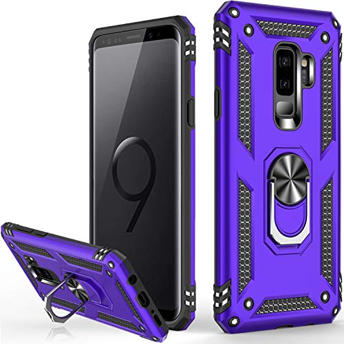 Galaxy S9 Case,Military Grade 16ft. Drop Tested Dual Layered Heavy Duty Cover with Magnetic Ring Kickstand Compatible with Car Mount Holder,Protective Phone Case for Samsung Galaxy S9 Purple
