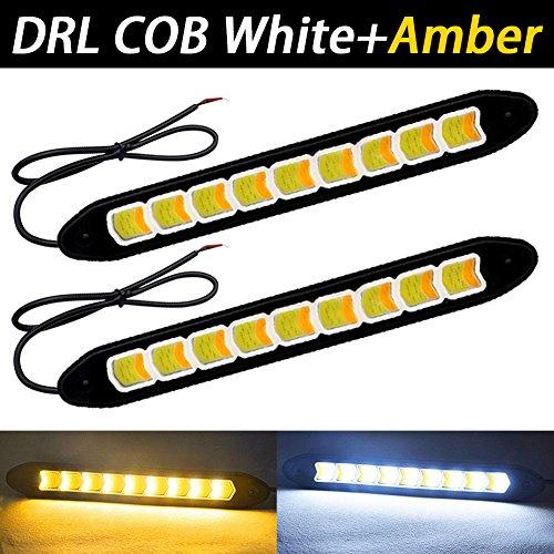 TABEN Lot de 2 feux de circulation diurnes étanches à LED COB 12 V pour voiture - Feux de circulation diurnes et de brouillard (blanc/abmer Switchback)