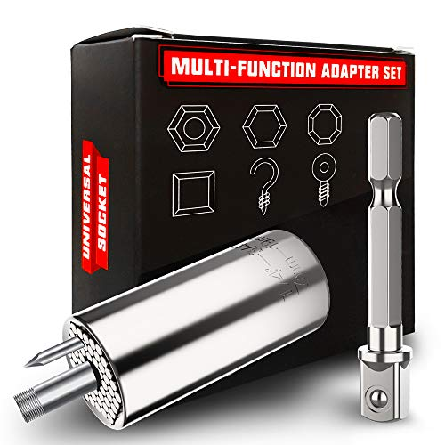 VRTOP Father's Day Gifts Universal Socket with Drill Adapter Unique Cool Gadgets Gifts for Men Women Father Dad Husband Boyfriend Him Hand Tools Sets (7-19mm) (SILVER)