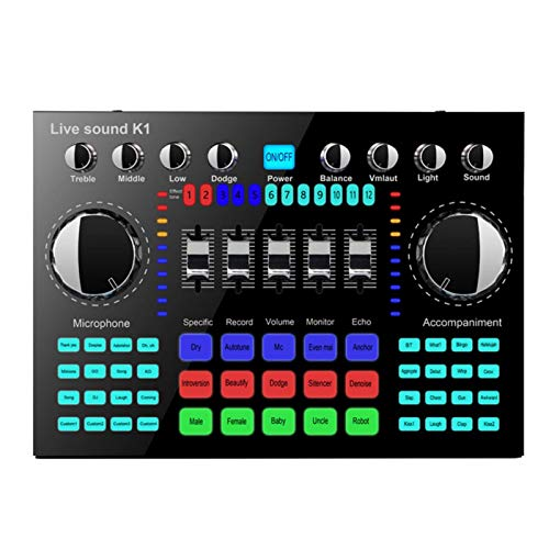 Live Sound Card, Bluetooth Sound Mixer Board for Live Streaming, Voice Changer Sound Card with Multiple Sound Effects, Audio Mixer for Music Recording Karaoke Singing on Cell Phone Computer