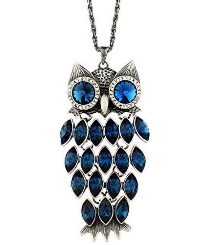 """Neoglory Birthstone Blue Crystal Vintage Owl Pendant Long Chain Necklace Charm for Women Statement Jewelry 35.4"""" Embellished with Crystals from Swarovski"""