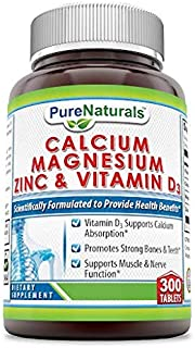 Pure Naturals Calcium Magnesium Zinc with Vitamin D3, 300 Tablets, Supports Nerve & Muscle Functions* Supports Strong Bone...