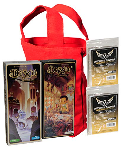 Dixit Revelations and Dixit Harmonies Game Expansions || Bonus 200 Clear Protective Card Game Sleeves with Red Canvas Carry Bag with Handle _ Bundled Items
