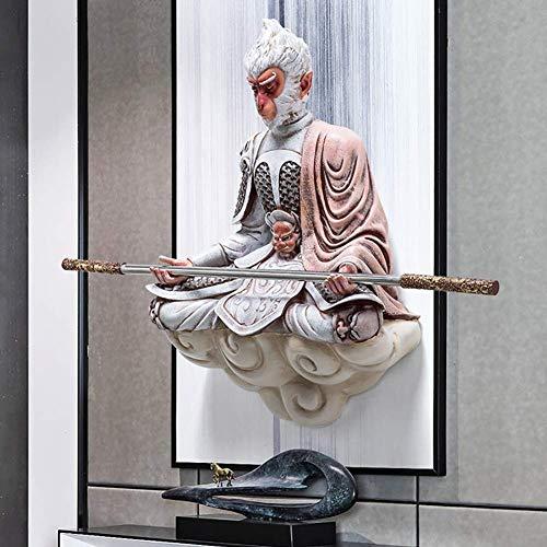 Cakunmik Monkey King Statue Figur Sun Wukong Statue,Kunst-dekor Für Kinder Geschenk Flur,Tier Wanddekoration Harz Einzigartige Schlafzimmer Kunstwerk 68x50cm(27x20inch)