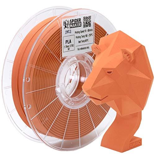 SpiderMaker 3Dプリンター用 PLA フィラメント 素材 造形材料 (PLA+) 台湾製 - 1.75mm径, 700g, 精確度+/- 0.03mm マットPLA (Sun Orange)