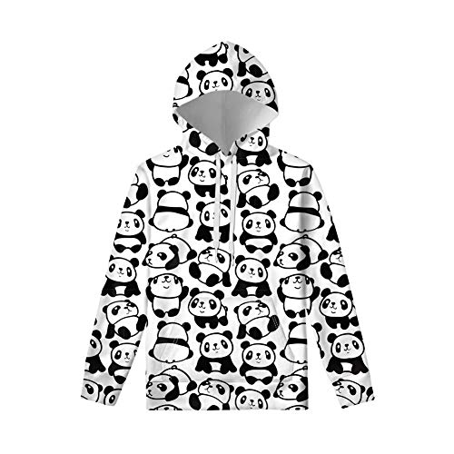 WELLFLYHOM Kawaii Panda Hoodies Sweatshirt for Teen Girls Boys 8-10 Years Old Unisex Pullover Top with String Lightweight Soft Polyester Activewear Sweater with Pocket Childrens Youth Tshirts