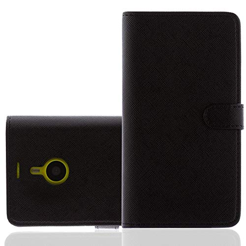 numerva Bookstyle Handytasche kompatibel mit Nokia Lumia 735 Schutzhülle PU Ledertasche für Nokia Lumia 735 Hülle mit Kartenfach Schwarz