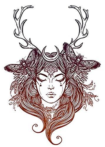EW Designs Pretty Wilderness Forest Moon Goddess with Antlers #2 Vinyl Decal Bumper Sticker (4' Tall)