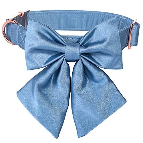 Lionet Paws Hundehalsband Fliege - komfortable Seide Hundehalsband mit abnehmbaren Fliege für Welpen und Katze, Hals 20-30cm