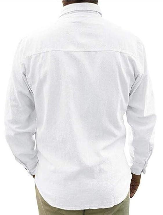 ShuangRun - Camisa de Manga Larga para Hombre de Estilo Cubano Guayabera con Botones de Lino