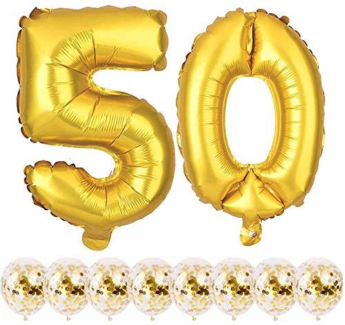 Youngneer Palloncini Numero 50 Oro per Anniversario di Matrimonio Palloncino Compleanno Palloncino Festa di Compleanno Decorazioni Buon Compleanno per Donna Uomo Kit Palloncini