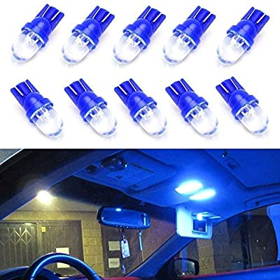 iJDMTOY (10) Ultra Blue Single-Emitter 1-LED 168 175 194 2825 W5W T10 LED Replacement Bulbs For Car Interior Lights, Map Lights, Dome Lights, Foot Area Lights, Trunk Area Lights, etc
