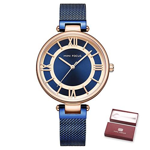 KLFJFD Números Romanos Moda Diamante de imitación 30 m Reloj Impermeable para niñas Reloj Deportivo Informal con Banda de Acero Reloj de Cuarzo Simple para Mujer Regalo de cumpleaños