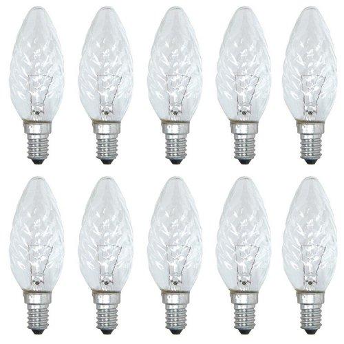 10 x Glühbirne Kerze gedreht 40W E14 KLAR Glühbirnen Glühlampen Glühlampe 40 Watt