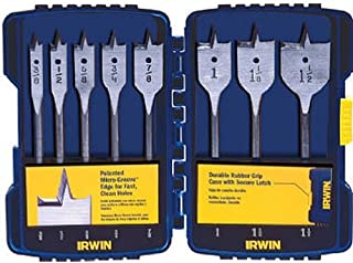 IRWIN Tools SPEEDBOR Blue Groove Pro Spade Bit Set with Case, 8-Piece (341008)