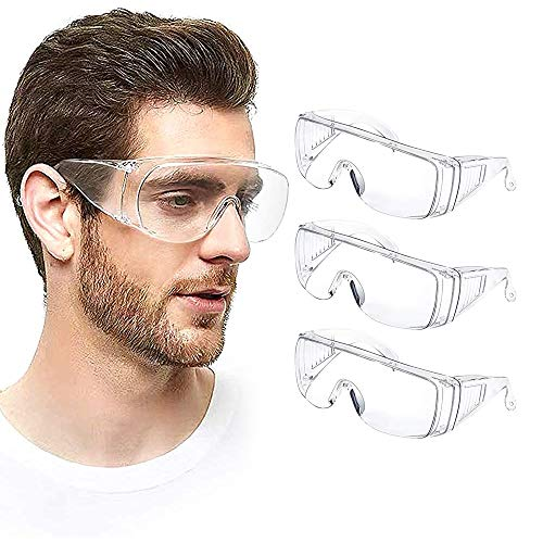 Safety Goggles, glasses (3 pairs Pack men and women) Medical Goggles eye goggles protection Clear Lens over glasses Transparent Goggles Shooting Glasses Splash proof Chemical Splash Impact Resistant Enclosed Safety Goggle Clear Anti-Fog Anti-Scratch Anti-Dust Anti-UV Lens Eyewear For nurses worker Outdoor sports