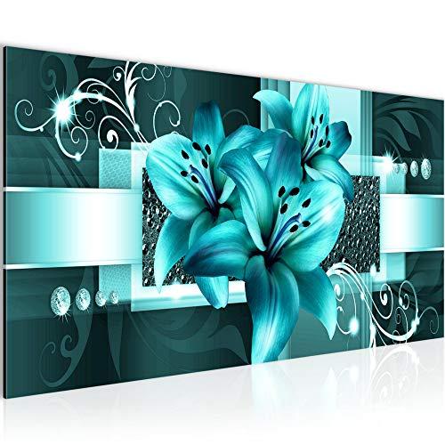 Bilder Blumen Lilien Wandbild Vlies - Leinwand Bild XXL Format Wandbilder Wohnzimmer Wohnung Deko Kunstdrucke Türkis 1 Teilig - MADE IN GERMANY - Fertig zum Aufhängen 008612a