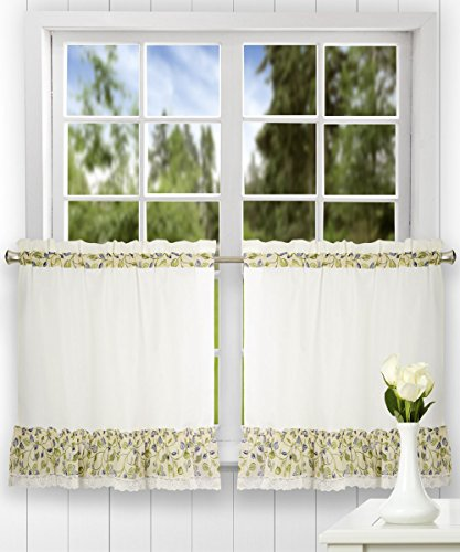 Ellis Curtain Clarice 58-by-24 Inch Ruffled Tailored Tier Curtains, Blue