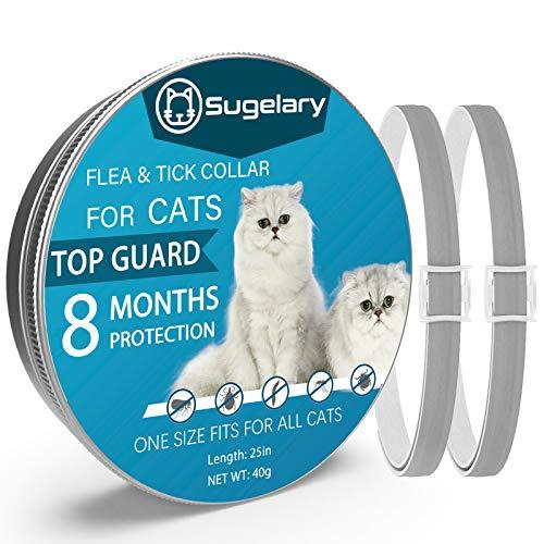 Sugelary Collar Antiparasitario para Mascotas Gatos, Protección de 8 Meses, Tamaño Ajustable e Impermeable, Mejorado con Aceites Esenciales Naturales (2pcs)