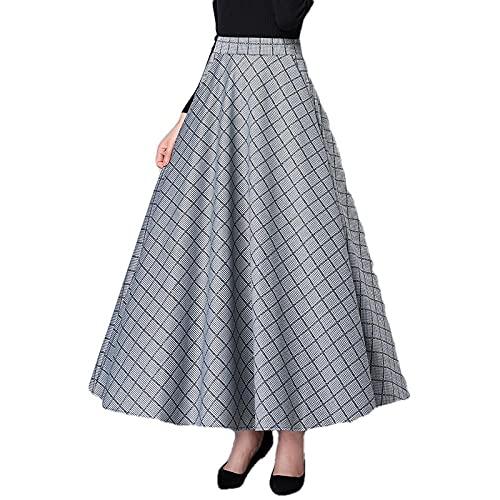 Spódnice Długie Spódnice W Dużych Rozmiarach Damskie Spódnica W Stylu Vintage Z Wysokim Stanem Lady Spódnica W Kratę Streetwear-As_Shown_2_Xxl
