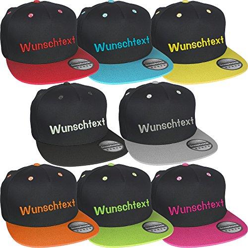Snapback Cap bestickt mit Wunschtext Name Stickerei Basecap (Black / Grey)