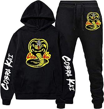Cobra Kai Hoodie Tracksuits Sweatshirt Set Cool Pullover Hooded Top With Sweatpants S Black
