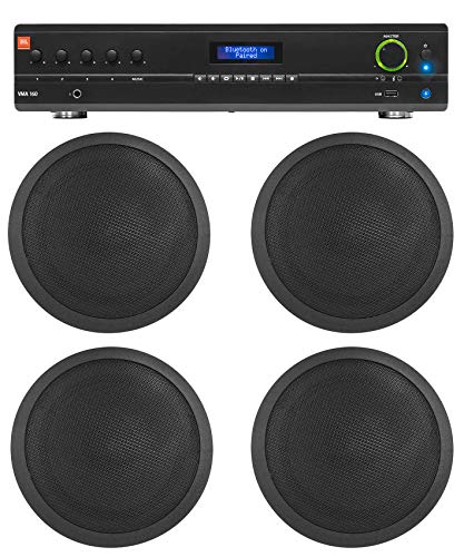 JBL Commercial 70v Amp+(4) Black 6' Ceiling Speakers For Restaurant/Bar/Cafe